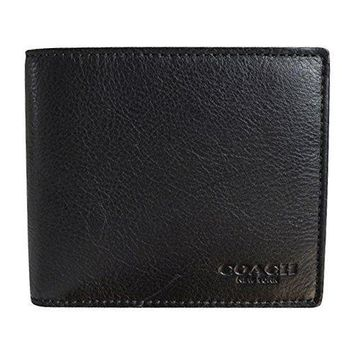 Coach Compact Id Sport Calf Bifold Wallet In Black 74991