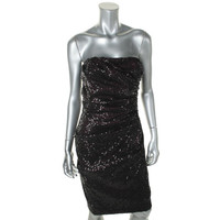 David Meister Womens Sequined Strapless Evening Dress