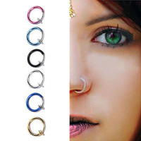 2pcs Fake Stud Earrings Nose Lip Rings Hoop Ear Punk Clip On Piercing Body Jewelry