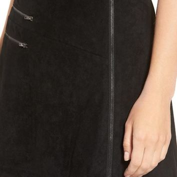 Lush Zip Front Faux Suede Miniskirt   Nordstrom