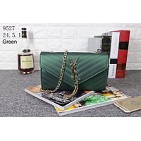 YSL 2018 chain frosted jelly shoulder diagonal tassel handbag handbag Green
