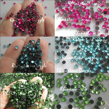 5000pcs 5 colors Bundle, ss10 Hotfix Crystal Flatback Rhinestones, 3mm Hotfix Flatback Rhinestones, 1000pcs each, pink, aqua, green, rainbow