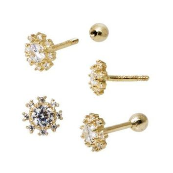18 Gauge, CZ Flower Tragus Cartilage Ear Piercing in 14k Gold