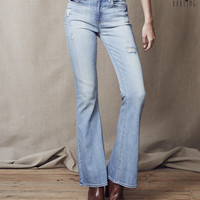 Tokyo Darling High-Waisted Flare Destroyed Light Wash Jean