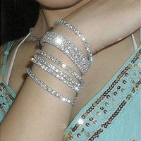 Crystal Rhinestone Wedding Bridal Bangle Bracelet Wristband Brand New [7981076679]