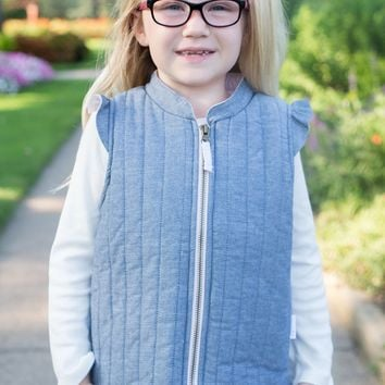 Girls Chambray Quilted Vest