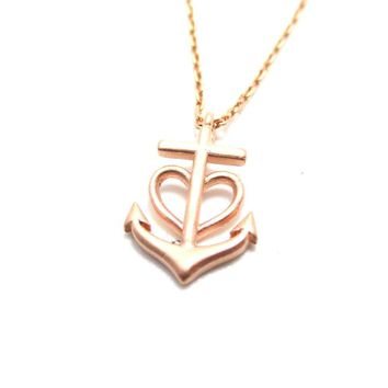 Tiny Heart Shaped Anchor Charm Nautical Themed Necklace in Rose Gold | DOTOLY