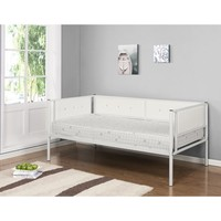 Twin White Upholstered Faux Leather Metal Day Bed Frame With Headboard, Footboard, Rails & Slats (Twin Daybed) - Walmart.com