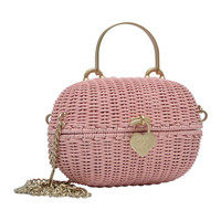 Chanel Pink Straw Handbag Mint Vintage