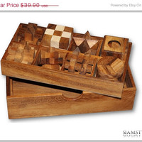 On Sale Puzzle Set & Mind Game of 8 in wooden box