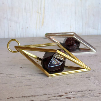 January Birthstone Garnet Geometric Cage Pendant Necklace, Large Raw Garnet, Caged Crystal, Chase and Scout