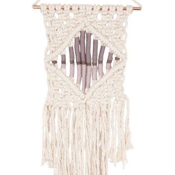 Macramé Center Diamond Boho Wall Hanging in Cream and Plum Neutrals