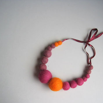 Statement necklace felted wool balls of wool beaded necklace bordeaux orange bib necklace geometric necklace for girls