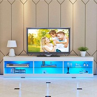 Solid  MDF Crafted Entertainment Center With LED Lighting
