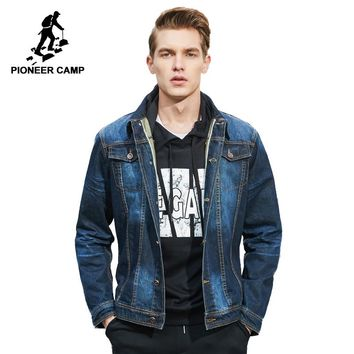 Pioneer Camp new classic denim jacket men brand clothing 100% cotton casual men jean jacket dark blue solid coat male 566351
