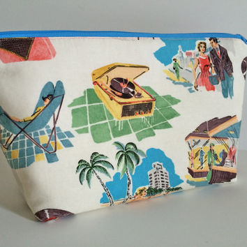 Extra Large Cosmetic Bag Toiletry Bag Travel Bag Makeup Bag in Vinyl Vacation