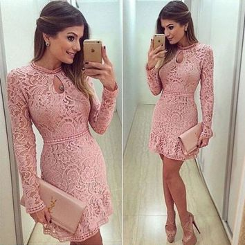 Autumn sexy Women Mini Dress Long Sleeve Pink Hollow Lace Bodycon Clothing new Evening Party Club girls femme Slim dresses