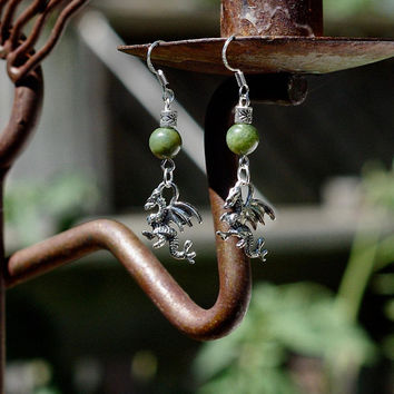 Jade Dragon Earrings ~ Welsh Dragons ~ Canadian Nephrite Jade ~ Green BC Jade ~ A Quality Jade ~ Good Luck Stones ~ Celtic Earrings