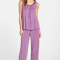 Women's Midnight by Carole Hochman Lace Trim Sleeveless Pajamas,