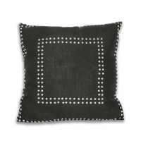 Square Gaga Double Nailhead Pillow - Black