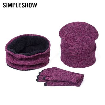 Brand Designer Women Scarf Hat Gloves Set Three-Piece Winter Warm Set Female Hats Scarves Men Unisex