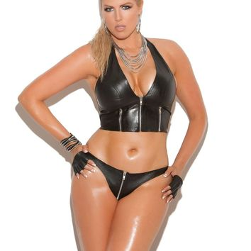 Plus Size Leather zip front halter top with zipper detail and leather  back Black