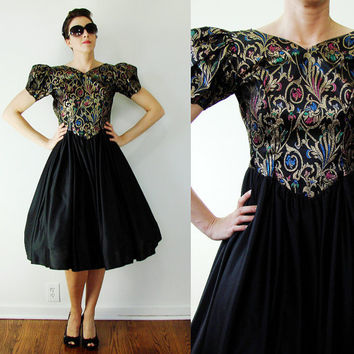 Vintage 1980s Jacquard Dress METALLIC Puff Sleeve DAMASK Dancewear Prom XXS