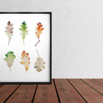 Painting print Oak leafs poster Watercolor art print Minimal home decor