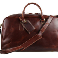 Genuine Cow Leather Unisex Red Wine Huge Luggage Bag Tote Bag_Travel Bags_Unisex Leather Bags