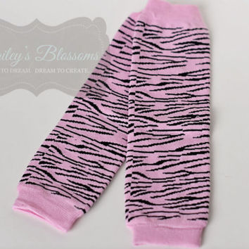 Infant and Child Leg Warmers, Cotton Leg Warmer, Infant Leg Warmer Girl, Leg Warmer, Ballet, Pink Zebra, Zebra Leg Warmer, Baby Leg Warmer
