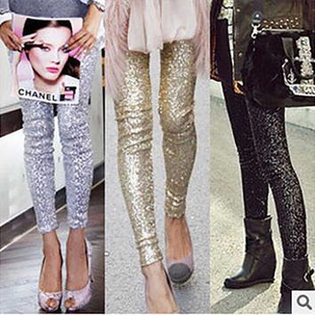 New Celeb Style Womens Stretchable Sparkle Metallic Shinning Full Sequined Pants Slim Skinny Pencil Pants