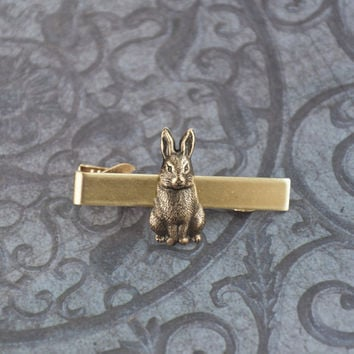 Rabbit Tie Clip Tie Bar Men's Tie Clip Bunny Tie Bar Rabbit Antique Brass Steampunk Accessories Gifts