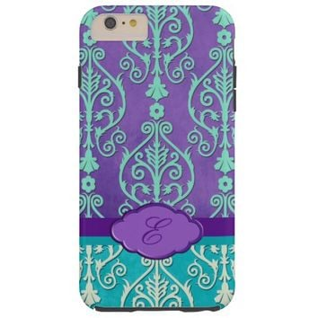 Embossed Teal Purple Cream Damask iPhone 6 Case