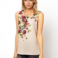 Oasis Rose Print Top With Lace Back Detail at asos.com