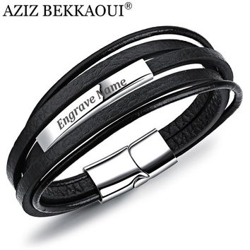 AZIZ BEKKAOUI Engrave Name Stainless Steel Bracelets Cowhide Bracelet for Men DIY Leather Bracelet Customized Logo Gift