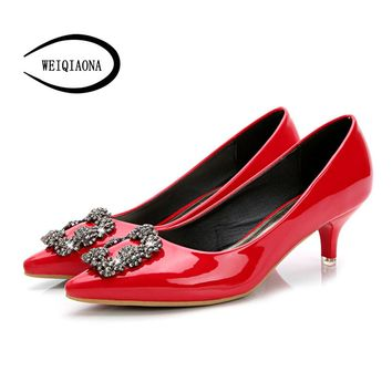 WEIQIAONA Woman Shoes Genuine Leather inside Low Heels Women Pumps Stiletto Thin Heel Women Work shoe Pointed Toe Wedding Shoes