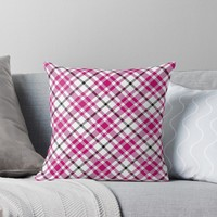 'Pink Black and White Tartan' Throw Pillow by Leah McPhail