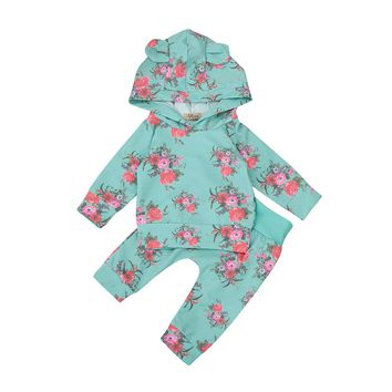 Baby girls romper Toddler Baby Newborn Boys Girl 2pcs Clothes Set Floral Hoodie Tops+Pants Outfits ping