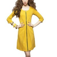 Women Zip up Scoop Neck 3/4 Sleeve Above Knee Dress