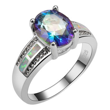 Blue Rainbow Simulated Topaz Fire Opal Sterling Silver Ring Beautiful