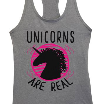 Womens Unicorns Are Real Grapahic Design Fitted Tank Top