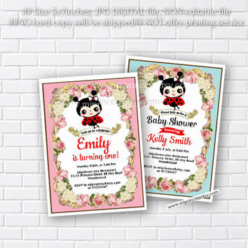 ladybird baby shower, birthday invitation, girl ladybug invite, for any age, 1st 2nd 3rd 4th 5th 6th 7th 8th 9th 10th kids party - card 296