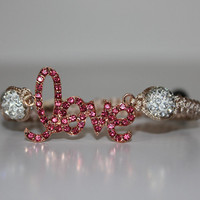 Bracelet LOVE Tan Pink with White Crystals