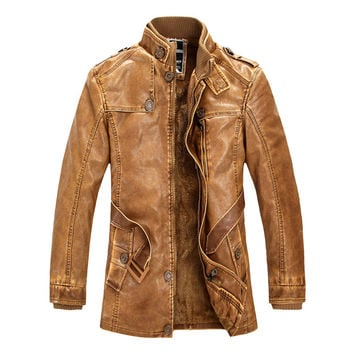 Fashion Motorcycle Leather Jackets Lining Faux Fur Jacket Brand Mens Winter Fleece Thick Warm Trench Coat Jaqueta de couro M-4XL