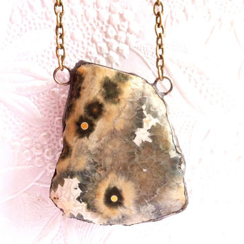 Ocean Jasper Necklace, Atlantis Stone Pendant, Sea Jasper Necklace, Gem And Mineral Stone Jewelry, Soldered Jewelry, Stained Glass Pendant
