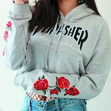 DCCKN7G Thrasher Cami Crop Flower Print Hooded Top Sweater Pullover Hoodie