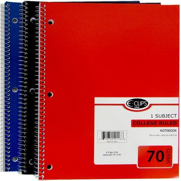1 Subject College Ruled Wire Notebook - Assorted - CASE OF 48