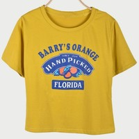 BARRY'S ORANGE Letter Print Round Neck Short Sleeve Cropped Graphic Tee