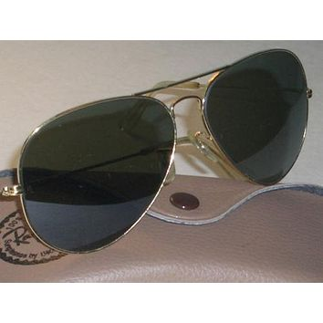 Tagre™ Cheap 1970s CIRCA VINTAGE B&L RAY BAN L2846 GOLD LARGE LENS UV G15 AVIATOR SUNGLASSES outlet