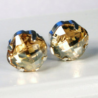 Gold Crystal Stud Earrings - Classic Sparkling Golden Topaz Solitaire Swarovski 12mm - Sterling Silver Post & Copper